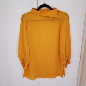 Massimo Dutti silk blouse w/ asymmetrical collar